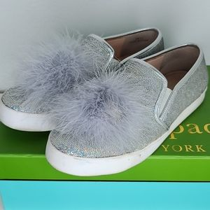 Kate spade silver sequins pompom sneakers